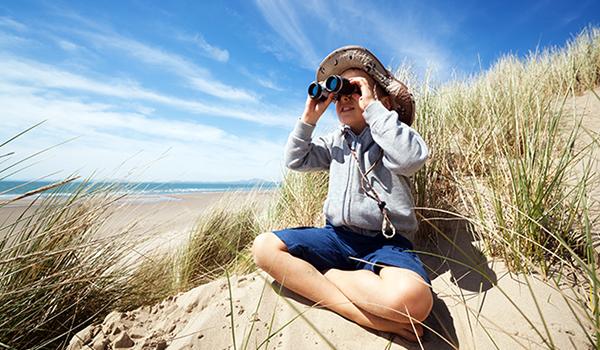Birdwatching boy